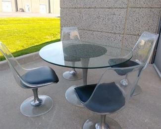 Mid-century modern plex-glass table & 4 chairs