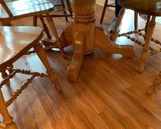 "#1	Oak table with 6 chairs and 1 leaf 47""-65""x47""x29""	 $140.00"