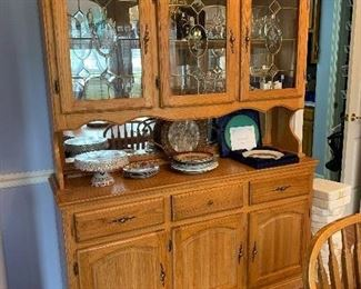 "#2	Oak lighted hutch with 3 drawers and 3 doors 58""x17""x76""	 $120.00"