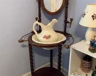 #11	Wooden wash stand with bowl and pitcher	 $35.00
