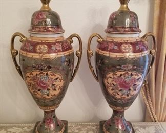 #2 Pair Large Ornate Ceramic Urns $95
