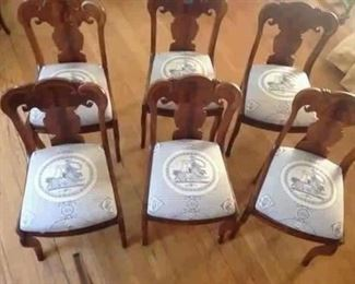 1840'S BIEDERMEIER SET OF SIX ARMLESS DINING ROOM CHAIRS, NEW UPHOLSTERY IN HIGH END DESIGNER FABRIC. PATTERN WITH CHARIOT BEING PULLED BY LIONS, BLUE AND WHITE.  PRISTINE CONDITION, MUSEUM QUALITY!!