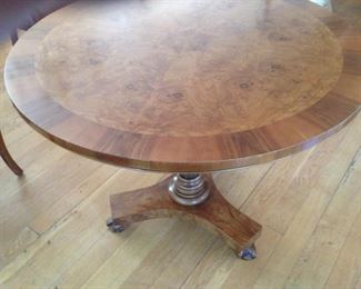"36"" ROUND OLIVE ASH IN LAID TOP WITH WALNUT PARKAY SURROUND, BEAUTIFUL SQUARE FOOT BASE WITH CLAW FOOT, EXCELLENT CONDITION,               $ 895.00"