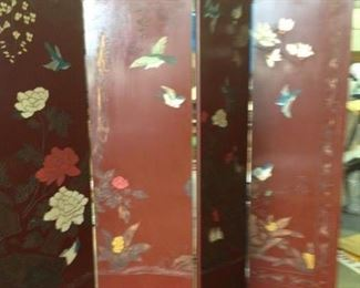 PAIR OF MAGHOGANY RED LACQUERED FINISH, MATCHING 4 PANELED SCREENS. BEAUTIFUL  BLUE BIRDS AND FLOWERS WITH HAND PAINTED GOLD GUIT DESIGNS, BRASS FEET      $ 200.00 EACH