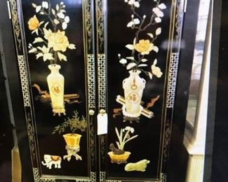"CUSTOM MADE CABINET, WITH CUT RAISED CUSTOM MADE, GENINE STONES AND HAND PAINTING IN GOLD GUIT,AND BEAUTIFUL CHINOISERIE DESIGN.  CAN BE USED AS ARMOIRE,BAR, OR WILL HOLD 42"" TV ALSO. HAS SHELF AND 3 DRAWERS.             $ 695.00"