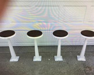 SODA FOUNTAIN PORCELIAN STOOLS WITH ORIGINAL OAK SEAT TOPS, EXCELLENT COND.  $ 325.00