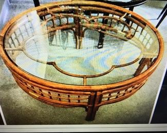 MID CENTURY BO HO RATTAN COFFEE TABLE WITH GLASS TOP, EX. COND.                                            $ 250.00