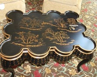 """#10/11/12-ORIENTAL STYLE BLACK COFFEE TABLE                                 38""""LONG/28""""WIDE/22""""HEIGHT                                                                                      $450"""