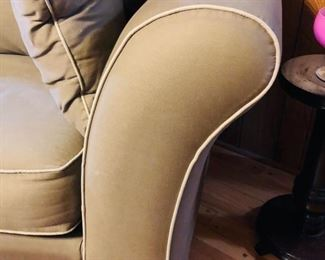 Taupe color twill fabric w contrasting piping