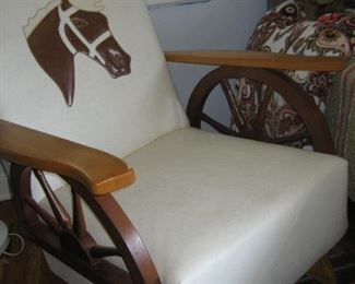 Vintage chair with wagon wheel arms