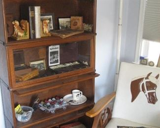 4 unit barrister bookcase (3 available), Western-themed chair with horse motif