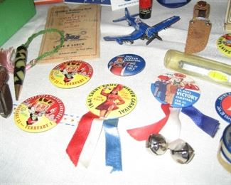 1940s Winter Carnival buttons and other collectibles
