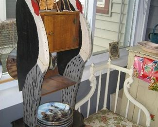 Folk art W.C. Fields cabinet, collectible Native American plates, painted unusual corner chair (part of set)