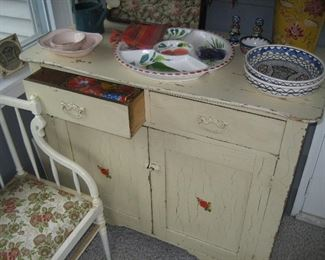 Vintage painted wood cabinet