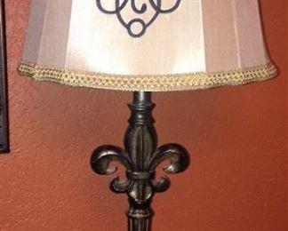 Lovely fleur de lis  lamp base; lovely  shade