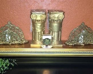 Small gold wall shelf; letter holders; hourglass