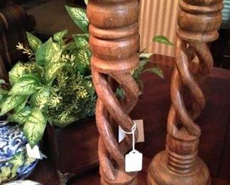 Barley twist, light wood  candle holders