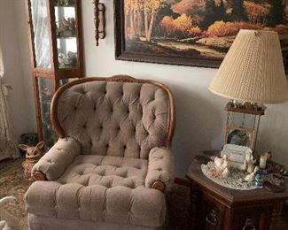 Curio, Side chair, matching sofa, not show ,end table lamps and Home  Interior Items!