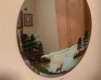 Beautiful vintage round mirror with deer by Lake painted on it