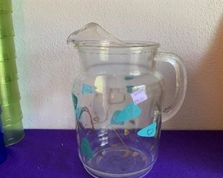 Turquoise Boomerang water pitcher