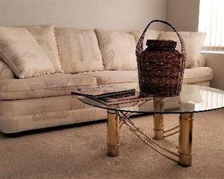 Super nice sofa and matching chair. Contemporary pattern. Round glass coffee table