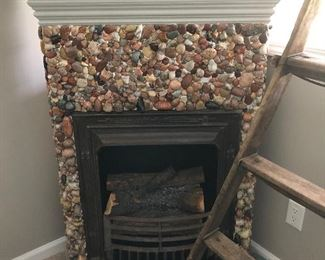 Custom stone façade electric fireplace