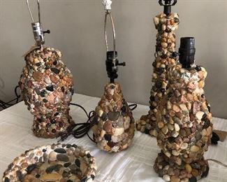 Many custom stone lamps and decor