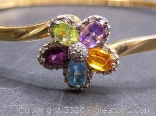14K Gold Diamond and Gemstone Bangle Bracelet