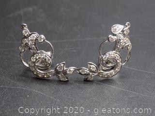 14K White Gold Diamond Mermaid Earrings