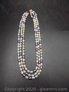 3 Strand Seed Pearl Necklace