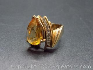 Pear Shaped Topaz and Diamond Ring