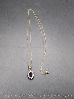 Sapphire Diamond Necklce