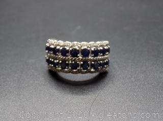 Sterling 2 Row Sapphire Diamonds Band