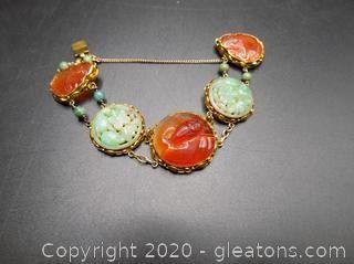Vintage Art Deco Era Carved Jade Disk Bracelet Photo 2