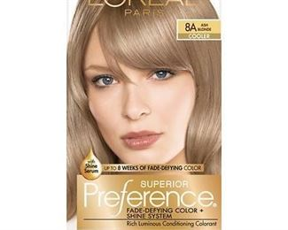 L'Oreal Paris Superior Preference Fade-Defying Shine Permanent Hair Color, 8A Ash Blonde, 1 kit