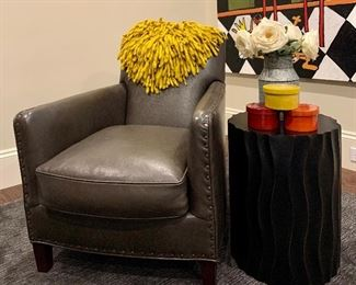 """Item 21:  Crate & Barrel Leather Chair: 28"""" x 31"""" x 33"""":  $850"""