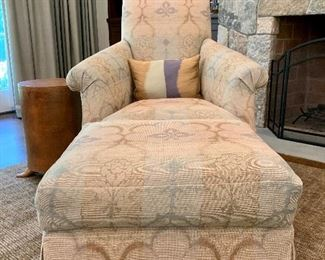 """Item 48: 1 Donghia Floral Upholstered Arm Chair w/ Ottoman - $1295 and  another W/O Ottoman - $1050, newly upholstered in neutral tones. Chairs - 32"""" x 23"""" x 37.5"""" Ottoman - 23"""" x 19"""" x 17.5"""""""