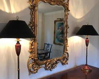 """Mahogany and Walnut Inlay Sideboard (NOW ONLY $1200- top view only here), pair of buffet lamps (NOW ONLY $200) with black shades  - gold and black interior and large gold mirror (32"""" x 56"""")- $800 - NOW ONLY $550"""