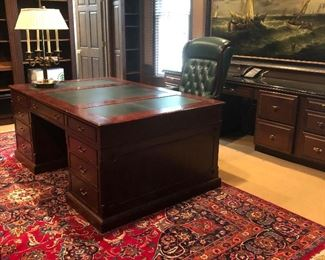 Partner's Desk with Green Leather Top - NOW ONLY $1000 - Green Leather Desk Chair - NOW ONLY $750 Extra Large Wool - Handmade Area Rug - NOW ONLY $3000