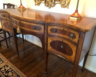"""NOW ONLY $1000 Front view of Mahogany and Walnut Inlay (lamp design inlay on top) Sideboard with Center Drawer and 2 side cabinets:           Dimensions:  6' long x 25"""" wide and 36"""" tall"""