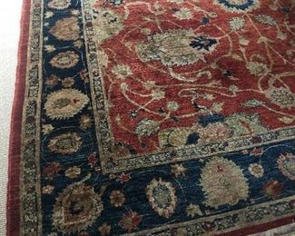 Large Area Wool Rug - handmade with hand-tied fringe:  Dimensions (approx 9 x 11)  - NOW ONLY $1200