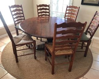 """BEAUTIFUL CHERRY 60"""" ROUND PEDESTAL TABLE WITH 6 LADDER-BACK CHAIRS - JUST ADDED TO SALE :) - ONLY $1800 FOR ALL PIECES - NOW ONLY $1500"""