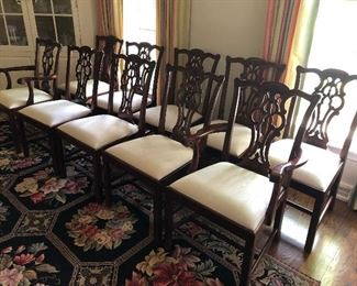 10 Chippendale-styled dining chairs - 8 side and 2 arm: NOW ONLY:  $1000 for ALL 10