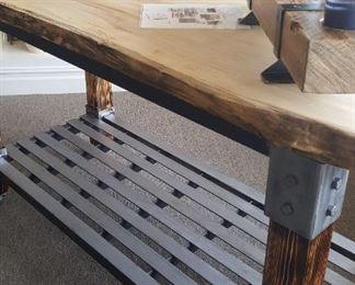 ISLAND / TABLE - Custom Made Wood and Metal Kitchen Island.  Raw edge with steel base
