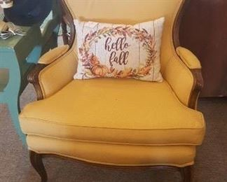 Vintage Chair - gold with wood trim