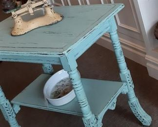 Vintage TABLE - 1800'S EastLake Side table (mint green) with wood roller feet - measurements - 29.5x30