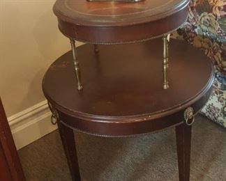 TABLE - Mahogany 2-Tier side table with claw foot caster - measurements - 30x27