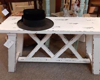 Farm-style white bench
