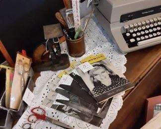 Vintage typewriter and playbills
