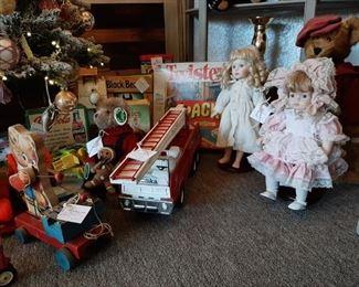 Variety of vintage toys